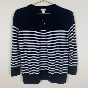 J. Crew Clare Cardigan Striped Navy Blue White 42